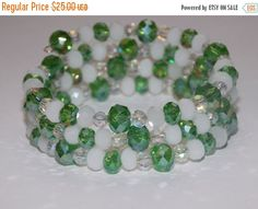 CLEARANCE 30%OFF Green and White Wrap Bracelet by EriniJewel