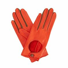 Gizelle Renee - Bega Orange Leather Driving Gloves With Coffee Cashmere
