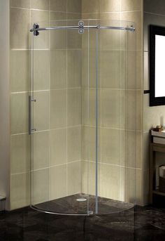 Aston Completely Frameless Round Sliding Shower Door Enclosure pertaining to sizing 800 X 1164 Curved Sliding Bathtub Doors - If you just don't Have Bathroom Niche, Bathroom Fixtures, Small Bathroom, Bathrooms, Bathroom Ideas, Restroom Ideas, Basement Bathroom, Bathroom Designs, Bathroom Renovations