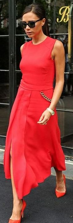 Victoria Beckham collection, Manolo pumps, Rolex watch
