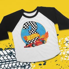 Toddler Race Car T-Shirt Personalized. Having a Hot Wheels birthday or Race Car party? Celebrate their birthday with this fun race number shirt with their very own name and age on it! Makes a great gift for any little race car fan! Kids Party Works Hot Wheels Birthday, Hot Wheels Party, Race Car Birthday, Race Car Party, Kids Birthday Gifts, Boy Birthday, Race Cars, Race Car Outfit, Design Your T Shirt