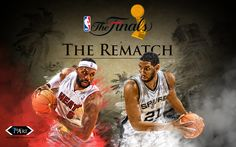 NBA Finals Wallpaper of the Miami Heat and LeBron James vs Tim Duncan and the Spurs on Streetball