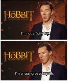 Benedict Cumberbatch, upon receiving a stuffed dragon from a silly interviewer going by the name of Dandalf the Disco.
