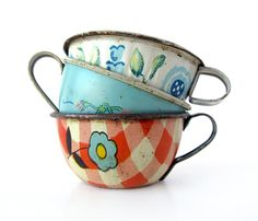 I didn't have china tea sets as a little girl, I had tin dishes.