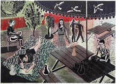 Michael Kirkman 'Waiting on the Afternoon' linocut