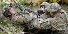 Army Soldiers, assigned to Airborne Brigade, conduct the rope bridge water crossing lane during the U. Army Europe-hosted 2015 European Best Squad Competition at Grafenwoehr, Germany, Oct. Marsoc Marines, Army Recruitment, Special Operations Command, Navy Sailor, Army Life, Army Soldier, Military Personnel, United States Army, American Soldiers