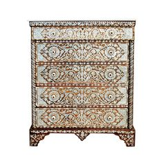 This is a beautiful 20th century Syrian Mother of Pearl Inlaid Chest of Drawers made of walnut wood. It features a fine marble top and knobs made of bone material. | From a unique collection of antique and modern commodes and chests of drawers at https://www.1stdibs.com/furniture/storage-case-pieces/commodes-chests-of-drawers/