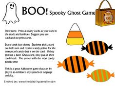 Boo! A Spooky Ghost game! On TPT, free download from thedabblingspeechie, other cute downloads as well!
