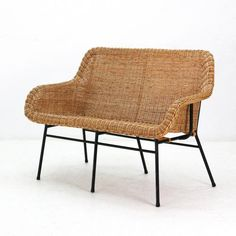Rattan & Metal Bench, 1950s for $1,008.00 (5/4/2018). Shop with global insured delivery at Pamono.