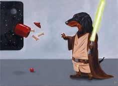 Holy Smokes!! Maybe this is how Milli gets the treats off the top shelves. Dachshund Jedi Dog Art Print by rubenacker on Etsy, $18.00