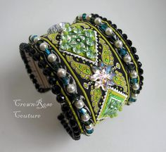 QUEEN of SHEEBA Lime green beaded rich cuff bracelet from CrownRose Couture line. Non-allergic