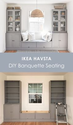 This is an IKEA HAVSTA hack for banquette seating. I'm sharing why I chose IKEA HAVSTA cabinet for this banquette seating built-in, the cost and DIY process. Home Renovation, Home Remodeling, Diy Bench Seat, Ikea Built In, Banquette Seating, Built In Cabinets, Ikea Cabinets, Kitchen Cabinets, Dining Nook