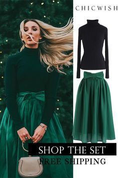 Bowknot Waist Pleated Midi Skirt in Emerald Shoppen Sie Chicwi. : Bowknot Waist Pleated Midi Skirt in Emerald Shoppen Sie Chicwi… – – Classy Work Outfits, Cute Outfits, Valentino 2017, Knit Fashion, Fashion Outfits, Fashion Fashion, Square Neckline Dress, Floral Pleated Skirt, Mode Vintage