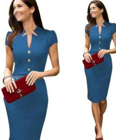 Janecrafts-New-Fashion-Slim-Bodycon-Womens-Party-Office-Business-Dresses-0