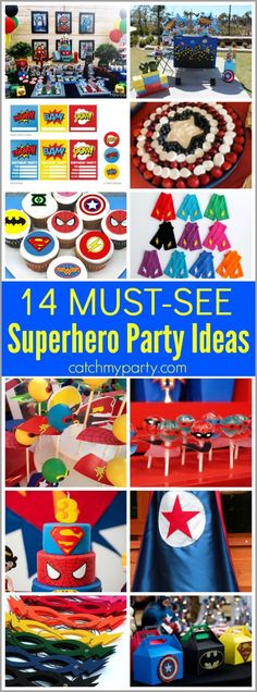 14 must-see superhero parties ideas including, cakes, cupcakes, superhero party printables, party favors, party decorations, and more!   Catchmyparty.com