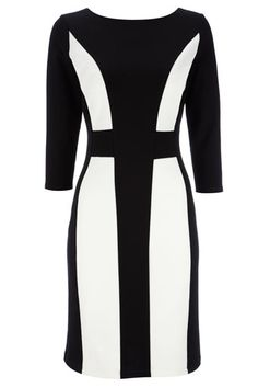 Wallis Black and Ivory Panel Dress Curvy Outfits, White Outfits, Classy Outfits, Curvy Clothes, Lovely Dresses, Fall Dresses, Dresses For Work, Dress Up, Bodycon Dress