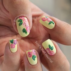 Sovi's Nail Journal: Pink and Purple Roses Floral NOTD