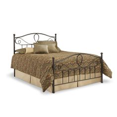 Queen size Metal Bed Frame with Headboard and Footboard in French Roast Finish - Quality House