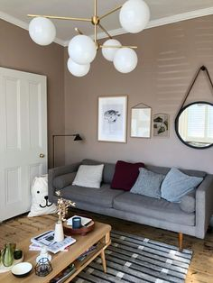 Dead Salmon Mid Century Eclectic Scandinavian Bohemian living room interior design ideas inspiration, new nordic colour Simple Living Room, Elegant Living Room, Living Room Grey, Interior Design Living Room, Living Room Color Schemes, Living Room Colors, Living Room Decor, Living Rooms, Colour Schemes