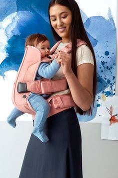 BABYBJÖRN Baby Carrier One Coral crab, Cotton Mix From BABYBJÖRN - The watercolor collection, Spring 2016