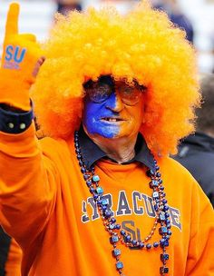 Syracuse University Orange - fan face painted blue and orange