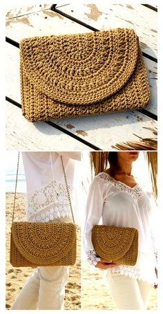 Free Crochet Bag, Mode Crochet, Crochet Purse Patterns, Handbag Patterns, Bracelet Crochet, Crochet Clutch, Crochet Handbags, Crochet Purses, Confection Au Crochet