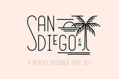 San Diego   Beach Designer Font Set by Jen Wagner Co on @creativemarket