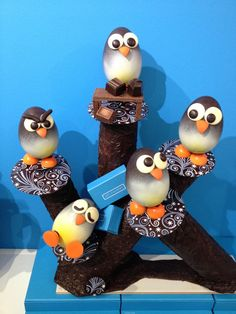 Penguins at work...helping us with our holiday chocolate production. A chocolate centrepiece. www.gemchocolates.ca
