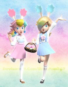 Peach and Rosalina: Easter-ific Joy by Super Mario Princess, Mario And Princess Peach, Nintendo Princess, Super Mario Art, Harmonie Mario, Lusamine Pokemon, Peach Mario, Nintendo Characters, Super Smash Bros