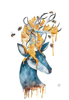 Deer Bumble bee blue yellow portrait by Norvile Dovidonyte