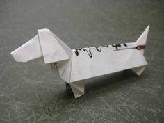 1:6の比率の箸袋で折るダックスフンド 創作/山田勝久 折り紙ダックスフントの折り方作り方 創作Origami dachshund 【創作折り紙の折り方・・・】
