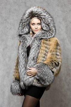 Dyed Feathered Fox Fur Hooded Jacket with Silver Fox Fur Trim