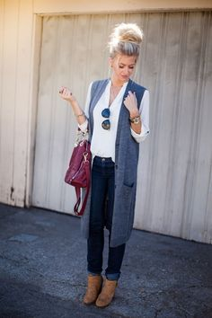 LONG KNIT VEST | WHITE TOP | SIMILAR JEANS | SIMILAR BOOTIES | SIMILAR BAG | SIMILAR SUNGLASSES | WATCH | SIMILAR BRACELET | SIMILAR RING | NECKLACE all photography by Kendra Maarse Long vests for
