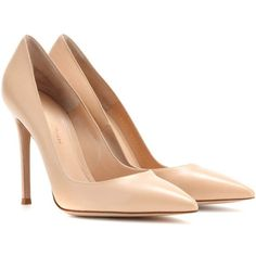 Gianvito Rossi Leather Pumps ($500) ❤ liked on Polyvore featuring shoes, pumps, heels, sapatos, high heels, neutrals, leather shoes, nude shoes, leather pumps and high heeled footwear