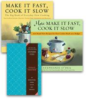 "56 Light and Healthy slow cooker recipes and zillions of other things.  ""Eating slow-cooked fare doesn't mean that you need to eat gloppy cream-of-something-or-other concoctions. There are TONS of ways to eat lightly, and all of the good-for-you stuff from your veggies and beans stay right in the pot. In fact, there's even a CrockPot Diet! All recipes are completely gluten-free. If you are not gluten-free, simply ignore my notes..."""