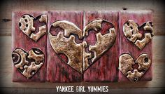 Steampunk Heart Cookie~ By Yankee Girl Yummies, red, Brown