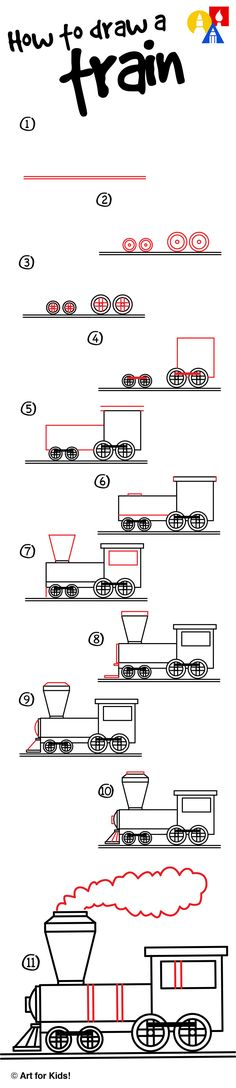 How to draw a simple train for kids!