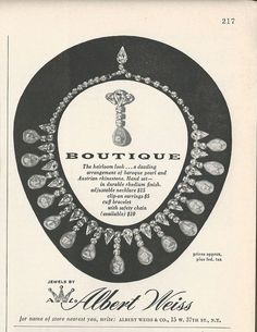 1954 ALBERT WEISS Pearl & Rhinestone Necklace ERs Jewelry Photo Vintage Print Ad
