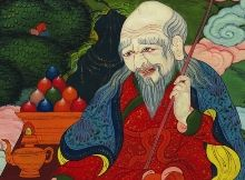 """Tsagaan Uvgun is the White Old Man of Mongolian mythology, often depicted surrounded by the six traditional symbols of longevity (in Tibetan, """"Tsering Nam Tuk"""". These are: the divine peach tree, the conch-shaped rock, the crane, the crystal rosary, the pure stream welling up from a sacred rock, and the deer – which are said to be the only creatures able to locate the plants (or fungus) of immortality."""