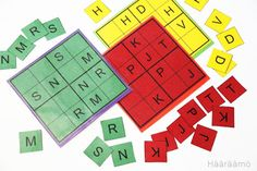 Sudoku Numbers and Letters. Print (in different colours), laminate & cut. Letters And Numbers, Kids Numbers, Problem Solving, Different Colors, Free Printables, Colours, Lettering, Learning, School