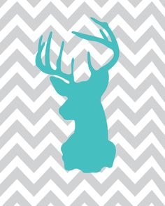 A forest nursery theme is one of the most popular nursery themes that you can choose for your little baby room as most babies naturally love to look at animals. Decorating #forest #nursery will help your baby to become familiar with various forest animals while they grow up.   Oh Deer Print Aqua Gray Zig Zag  8x10  Modern by giraffesnstuff, $18.00