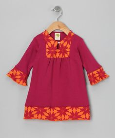 Take a look at this Raspberry & Marigold Floral Organic Dress - Infant & Toddler by Kiwi Industries on #zulily today!