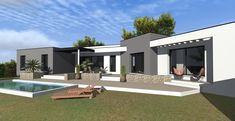 Modern House Plans, Modern House Design, Flat Roof House, Dream Mansion, My House, Villa, New Homes, House Styles, Bungalows