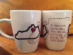 Long distance Relationship Coffee Mugs by HandmadeGiftsMolly