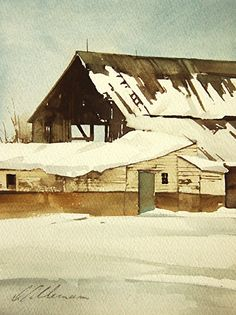 White Blanket Sheds by Joseph Alleman Watercolor ~ 8 x 6 Watercolor Barns, Watercolor Architecture, Watercolor Landscape, Abstract Landscape, Landscape Paintings, Watercolor Paintings, Abstract Paintings, Watercolours, Street Art