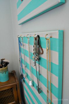 Jewelry holder for a teenagers room.