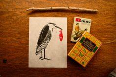 Black Crowned Night Heron  Linoleum block print 8 by TheBoweryLane, $30.00