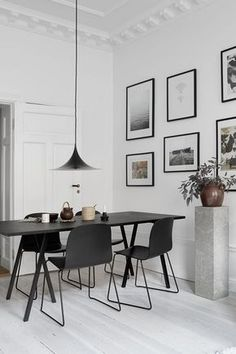 If you want to add a special touch to your Scandinavian dining room lighting design, you have to read this article that is filled with unique tips. Room Interior Design, Dining Room Design, Dining Room Furniture, Dining Rooms, Dining Area, Black Furniture, Furniture Ideas, Furniture Stores, Modern Furniture