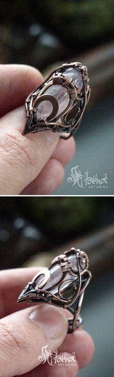 Rose quartz copper wire wrapped adjustable elven ring.