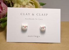 White Cat earrings - beautiful handmade polymer clay jewellery by Clay &…